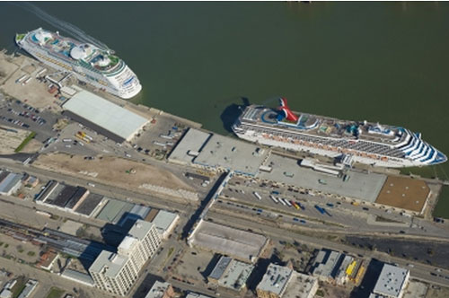 Aerial Galveston Cruise Terminals